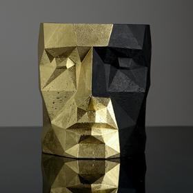 Кашпо полигональное из гипса «Голова», чёрно-золотое, 16 х 20 см