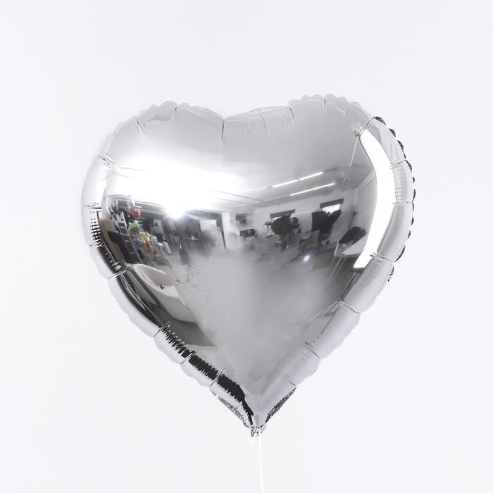 """Шар фольгированный 18"""" «Сердце», цвет серебро - фото 7639783"""
