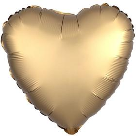 """Шар фольгированный 18"""" «Сердце», сатин люкс, цвет золотой"""