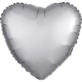 """Шар фольгированный 18"""" «Сердце», сатин люкс, цвет платина"""
