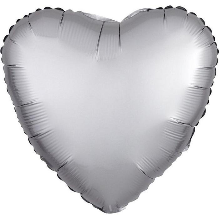 """Шар фольгированный 18"""" «Сердце», сатин люкс, цвет платина - фото 7639785"""