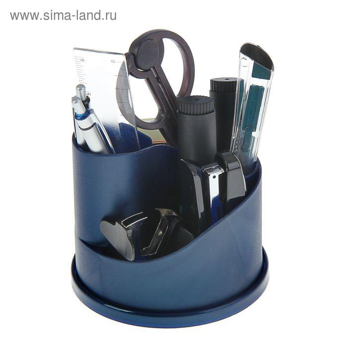 Набор настольный Lamark Koln вращающийся, премиум наполнение 12 предметов, синий металлик