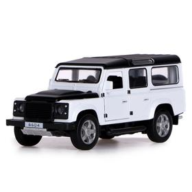 "Jeep metal ""Safari"", open doors, hood, trunk, light and sound effects, inertia, color white"
