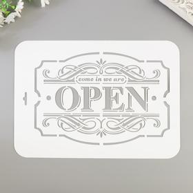 """Stencil """"OPEN"""" 22x31 cm"""