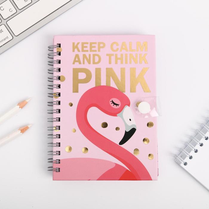 """Записная книжка на кнопке """"Фламинго"""", А6, 96 л"""
