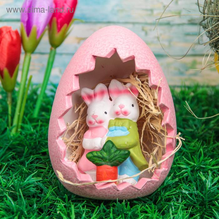 """Сувенир """"Кролик с цветами в яйце"""" МИКС"""