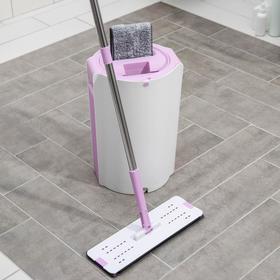 Набор для уборки: ведро с отсеками для полоскания и отжима 10 л, швабра плоская, запасная насадка с двумя карманами, водосгон, цвет МИКС - фото 4644272