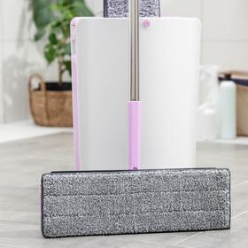 Набор для уборки: ведро с отсеками для полоскания и отжима 10 л, швабра плоская, запасная насадка с двумя карманами, водосгон, цвет МИКС - фото 4644273