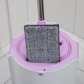 Набор для уборки: ведро с отсеками для полоскания и отжима 10 л, швабра плоская, запасная насадка с двумя карманами, водосгон, цвет МИКС - фото 4644279