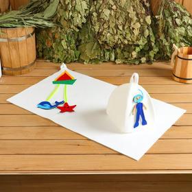 """Bath set for children with applique """"boat trip"""" (hat+Mat 40*70 cm)"""
