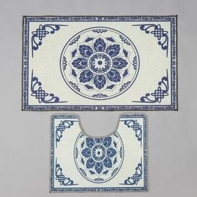"Set of bath and toilet mats 2 PCs ""Adisa"" 50x78 cm, 40x50 cm, blue"
