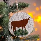 "Christmas pendant ""Cow and bull with Christmas tree"" 0,2x12x12 cm"