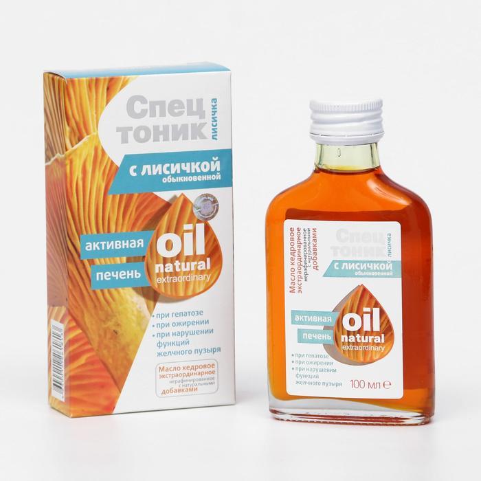 Кедровое масло «Спецтоник лисичка», с лисичкой обыкновенной, чистка печени от гельминтоза и токсин, 100 мл