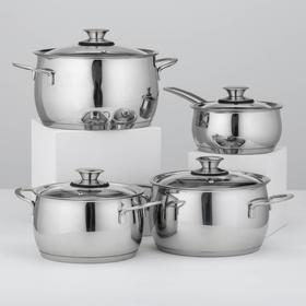 Набор посуды «Магнолия Престиж», 4 шт, кастрюли 3 шт: 2,5 л, 3,5 л, 4,5 л, ковш 1,2 л