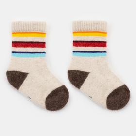 Носки детские шерстяные «Цветные полосы» цвет белый, размер 10-12 см (1)