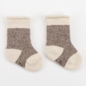 Носки детские шерстяные, цвет коричневый, размер 8-10 см