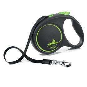 Рулетка Flexi Black Design L (до 50 кг) 5 м лента, черный/зеленый