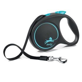 Рулетка Flexi Black Design L (до 50 кг) 5 м лента, черный/синий