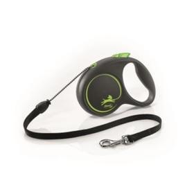 Рулетка Flexi Black Design S (до 12 кг) 5 м трос, черный/зеленый