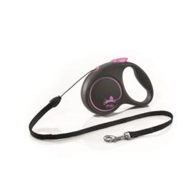 Рулетка Flexi Black Design S (до 12 кг) 5 м трос, черный/розовый