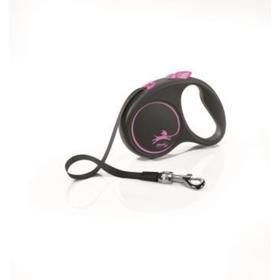 Рулетка Flexi Black Design S (до 15 кг) 5 м лента, черный/розовый