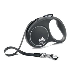 Рулетка Flexi Black Design S (до 15 кг) 5 м лента, черный/серебро