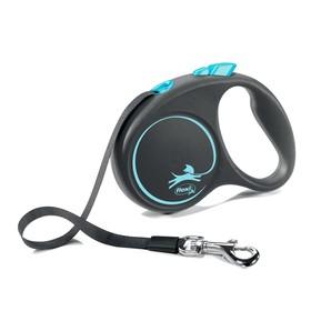 Рулетка Flexi Black Design S (до 15 кг) 5 м лента, черный/синий