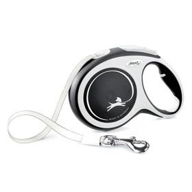 Рулетка Flexi NEW LINE Comfort L (до 50 кг) лента, 8 м серый/черный