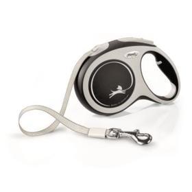 Рулетка Flexi NEW LINE Comfort L (до 60 кг) лента, 5 м серый/черный