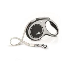 Рулетка Flexi NEW LINE Comfort M (до 25 кг) лента, 5 м серый/черный