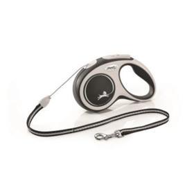 Рулетка Flexi NEW LINE Comfort S (до 12 кг) трос, 5 м серый/черный