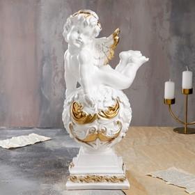 """Статуэтка """"Ангел на резном шаре"""", золотистый цвет, 50 см"""