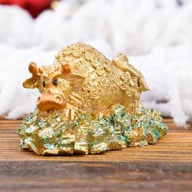 Статуэтка 'Люблю зелень', символ года 2021,золотистый, 4 см, полистоун Ош