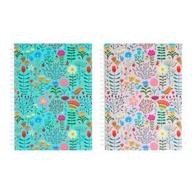Блокнот-скетчбук А5+, 60 листов на гребне Floral Meadow, твёрдая обложка, матовая ламинация, блок офсет 100 г/м2