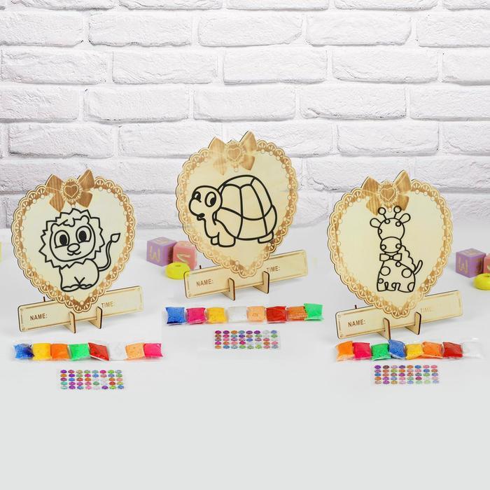 Аппликация шариковым пластилином в форме сердца «Животные» 8 цветов по 4 гр, подставка, МИКС