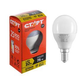 """Лампа светодиодная """"Старт"""" Эко, Шар, E14, 10 Вт, 2700 K, 230 В, теплый белый"""