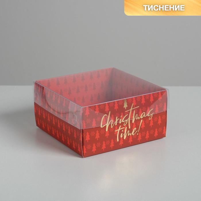 Коробка для кондитерских изделий с PVC крышкой Cristmas time, 12 х 6 х 11,5 см