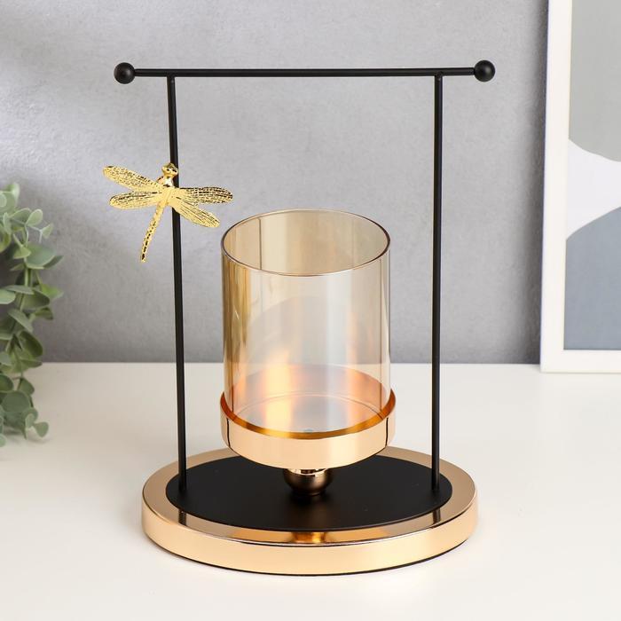 """Подсвечник металл, стекло на 1 свечу """"Стрекоза и колодец"""" чёрный с золотом 29х19,5х13,5 см - фото 853926"""