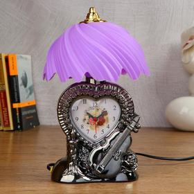 "Clock-lamp ""Heart"" with alarm clock, 1 AA, discrete stroke, dial 7.2x5.6 cm"