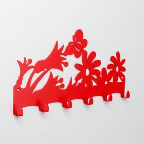 Вешалка настенная на 6 крючков «Цветочная поляна», цвет красный