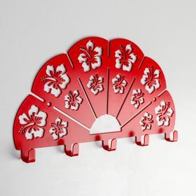 Вешалка настенная на 5 крючков «Веер», цвет красный
