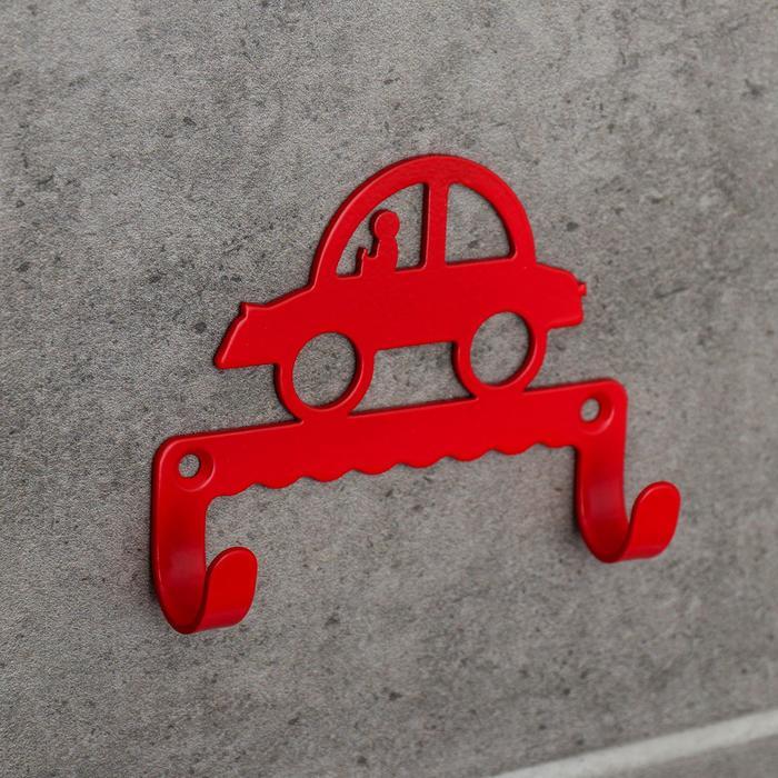 Крючок детский «Машинка», цвет красный