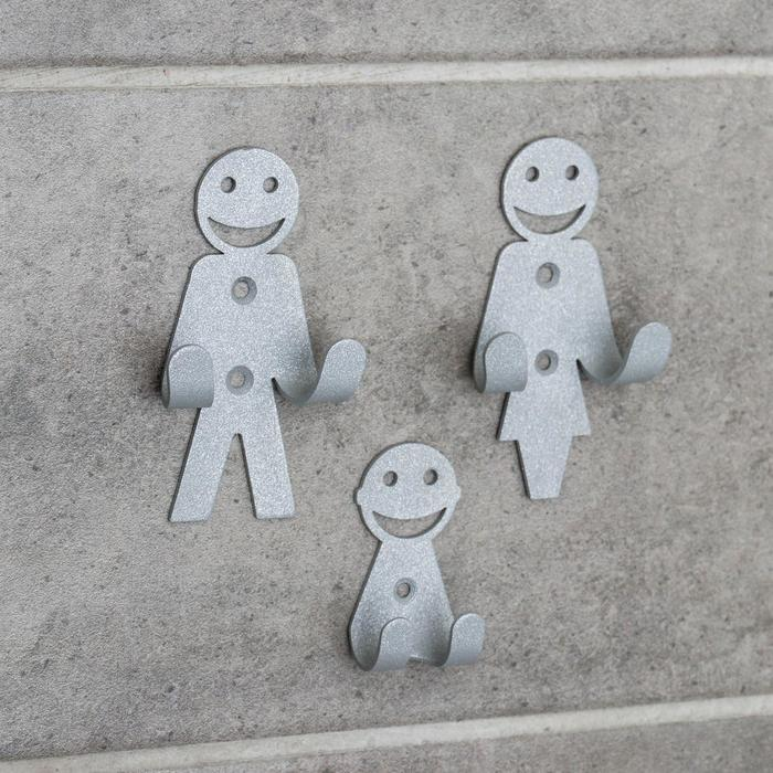 Набор крючков «Семья», 3 шт, металл, цвет серый