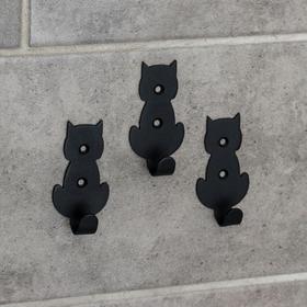 Набор крючков «Кошки», 3 шт, металл, цвет чёрный