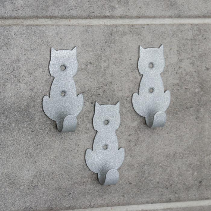 Набор крючков «Кошки», 3 шт, металл, цвет серый