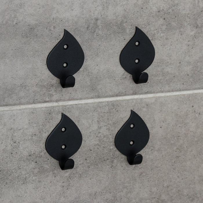 Набор крючков «Листья», 4 шт, металл, цвет чёрный