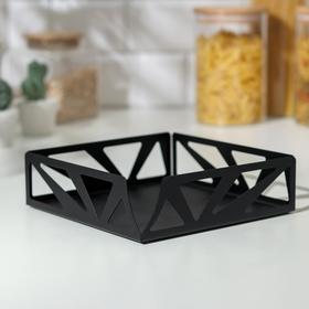 Салфетница GALA «Лофт», 17,5×17,5×5 см, цвет чёрный