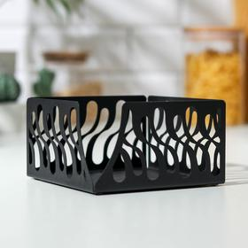 Салфетница GALA «Волна», 12,5×12,5×7 см, цвет чёрный
