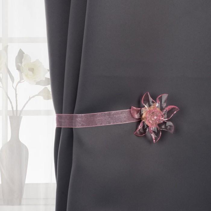 Подхват для штор «Ветерок», 6,5 × 6,5 см, цвет розовый