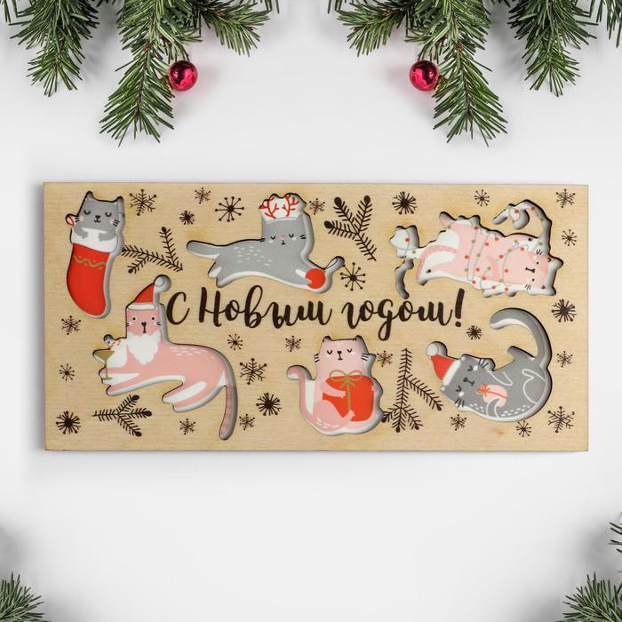 """Конверт деревянный резной  """"С Новым Годом!"""" коты, 16,5 х 8см"""